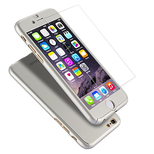 iPhone 6 Plus Case, Coocolor Ultra Thin Full Body Coverage Protection Hard Slim iPhone 6 Plus Case with Tempered Glass Screen Protector for Apple iPhone 6 Plus 5.5(Silver)