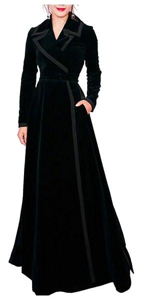 big discount of 2019 no sale tax sophisticated technologies Amazon.com: M&S&W Women's Fashion Black Velvet Trench Coat ...