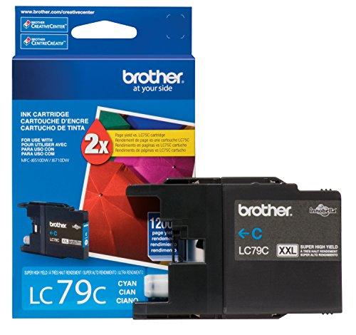 Brother Printer LC79C Super High Yield (XXL) Cyan Cartridge Ink - Retail Packaging