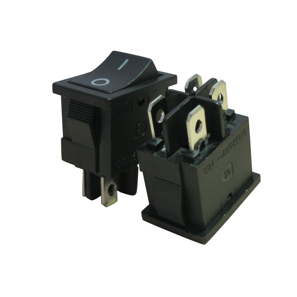 125V//10A,Black ON//Off DPST 4 Pin 2 Position Mini Boat Rocker Switches Car Auto Boat Rocker Toggle Switch Snap (Warranty 1 Years)KCD1-4-201 10Pcs AC 250V//6A Taiss