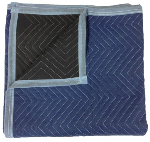 Moving Blankets - Pro Quality - 72 x 80 Inches - Blue & Black - by Cheap Cheap Moving Boxes by Cheap Cheap Moving Boxes