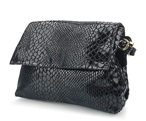 (Shining Evening Clutch Women Cross body Bag Snake Print Purse (Black) )