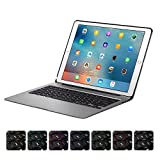 XFUNY iPad Keyboard Case for iPad Pro 12.9 Wireless Bluetooth 7 Colors LED Backlit iPad Keyboard with Aluminium Alloy Protective Case Cover for iPad Pro 12.9 (Gray)