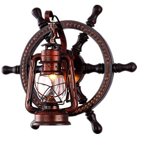 - European Retro Mediterranean Solid Wood Nautical Style with Glass Transparent Lampshade Living Room Wall Lamp Horse Lamp American Country Personality Antique Bar