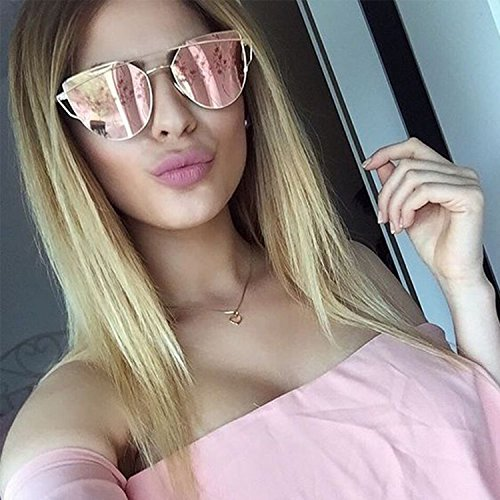 Large-Oversized-Cat-Eye-Sunglasses-Metal-Frame-Flat-Mirror-Lens-Women-Fashion Rose Gold - Prescription Expensive Sunglasses Are