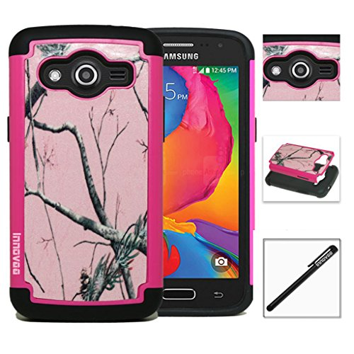 Samsung Galaxy Avant G386T / Galaxy Core LTE G3518 Case, INNOVAA Smart Grid Defender Graphic Case W/ Free Screen Protector & Touch Screen Stylus Pen - Pink (Audio Combination Case Camo)