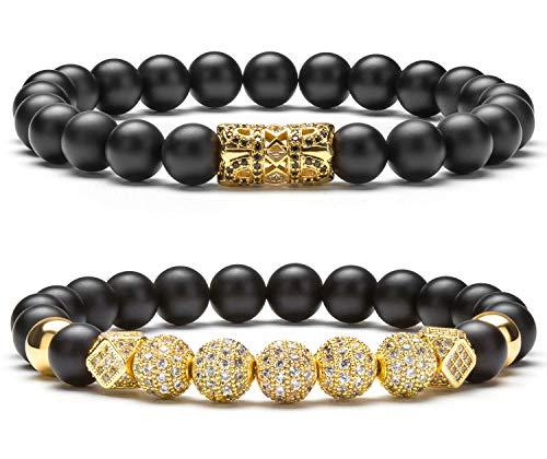 Hamoery 8mm Black Matte Charm Bracelet for Men Women Gold Zircon Accessories Beads Bracelet(Gold Set)