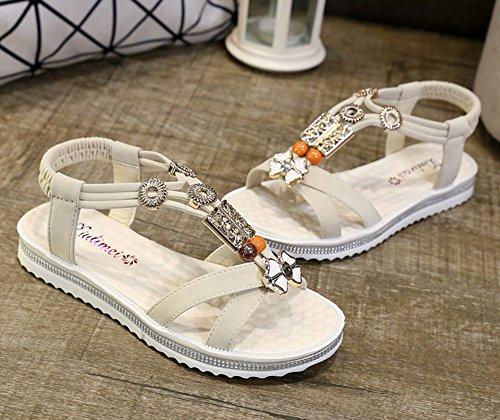 Minetom Mujer Verano Sandalias Dulce Bohemia Ocio Plana Zapatos Abalorios Zapatos Chancletas Zapatillas Playa Sandals Beige