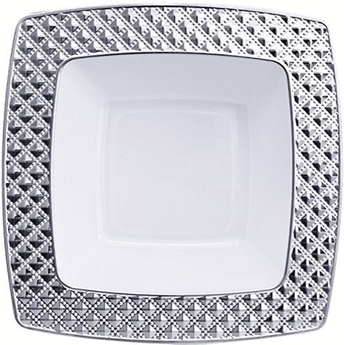Diamond Collection Elegant China-like Disposable Soup Bowls, White and Silver, 10 Count (Pack of 4) - Salad Diamond Fork