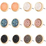 Minshine Druzy Crystal Round Stud Earrings Set for Women Resin Delicate Pierced Girl Earring Jewelry 6 Pairs (6 Pairs Round)