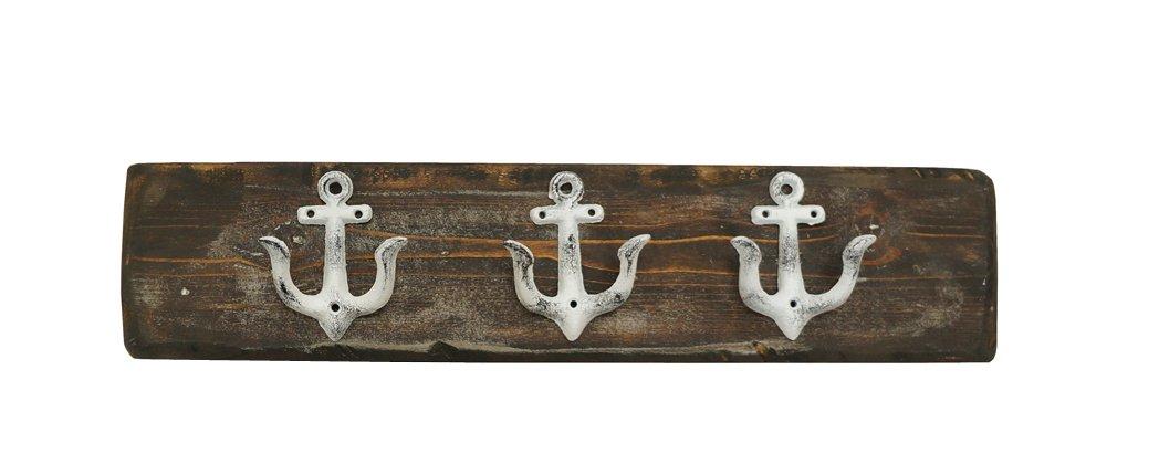 NACH db-7342 Hand Finished White Nautical Anchor Hook Board in Dark Walnut Medium