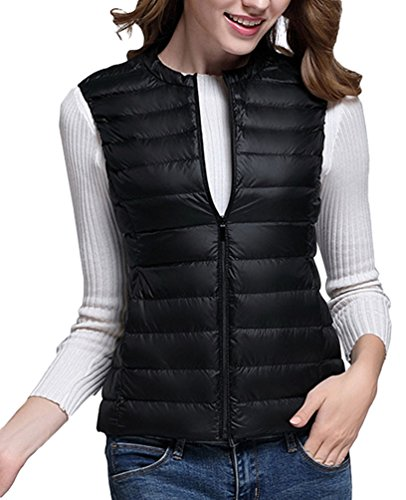 Quilted Collar LvRao Warm Autumn Gilet Black Vest Ultralight Sleeveless Round Womens Down Jackets Packable rrnxEpY