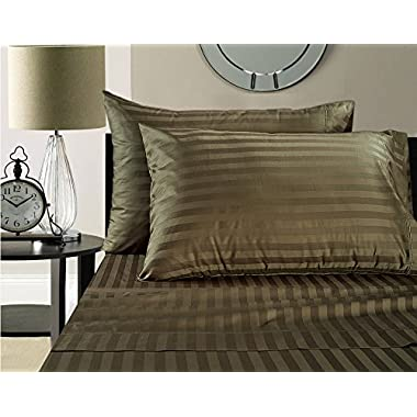 Luxury 100% Egyptian Cotton 500 Thread Count Damask Stripe Sheet Set (Queen, Chocolate)