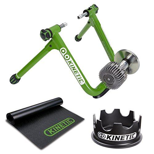 Kinetic T2200 Road Machine 2.0 Fluid Trainer + Trainer Floor Mat and Fixed Riser Ring (Kinetic Trainer Floor Mat)