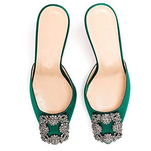 Satin Bas Chris T Sandales Femmes Travail Classique en de Ballerines de Talon Talon Chaton Chaussures 44I0xn