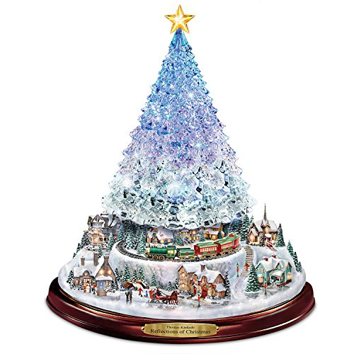 Thomas Kinkade Crystal Tabletop Christmas Tree: Lights Motion and Music by The Bradford Exchange (Christmas Village Kinkade Thomas)