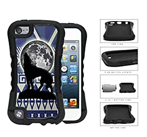Wolf Howling With Moonlight Aztec Design 2-Piece Dual Layer High Impact Rubber Silicone Case Cover Apple iPod Touch 5th Generation