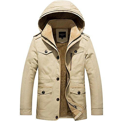 - WEEN CHARM Men's Single Breasted Hooded Faux Fur Lined Warm Coats Outwear Winter Stylish Jackets