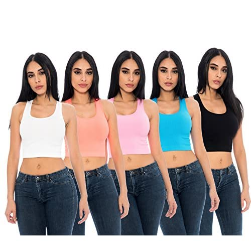 f083ada9dc8916 cheap 5-Pack Ladies Layering Stretchy Comfy Racerback Ribbed Crop Tank Tops