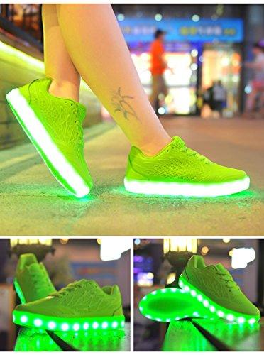 Bininbox Kvinna Godis Färg Nattlampa Skor Ledde Lysande Sneakers Dansskor Grön