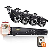 Anlapus HD Surveillance CCTV Security System 8CH 960H Digital Recorder( 1T HDD Pre-install) and 4 Pcs 900 TVL Weatherproof Bullet Security Cameras