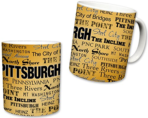 Sweet Gisele | City of Pittsburgh Inspired Mug | Ceramic Coffee Cup | Printed Text Theme | Pennsylvania Pride | Area Landmarks | Black & Yellow Detail | Yellow Accent - Steelers 11 Mug Oz Pittsburgh
