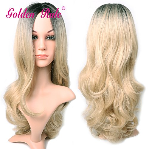[Golden Rule Ombre Color Long Curly Wig Heat Resistant Synthetic Cosplay Wig Full Wig for Women Party Wigs (1B/Light Blonde)] (T018 Colour)