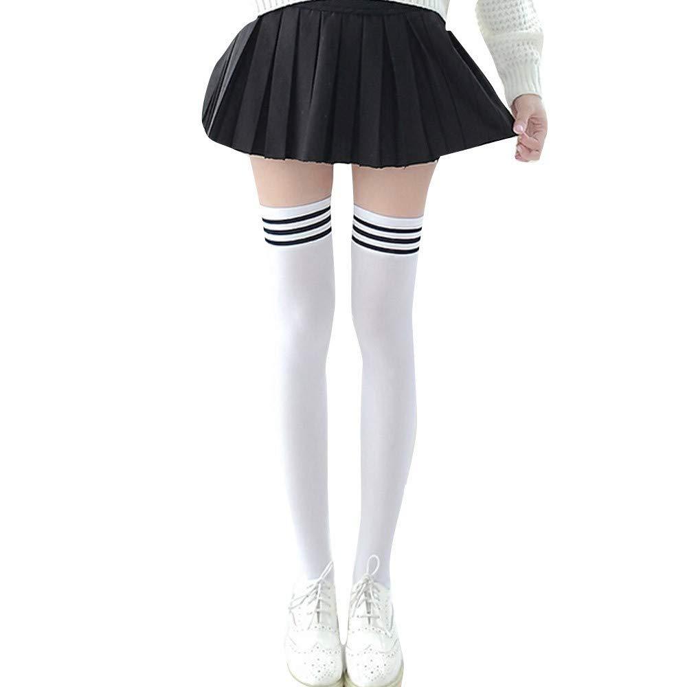 Alaso Chaussettes montantes,Genou Haute Socquettes,Femmes filles sur chaussettes de coton ray/é au genou stockage tube triple long cuisse collants haut doux chaussette d/écontract/ée