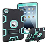 iPad Mini Case, iPad Mini 2 Case, iPad Mini 3 Case,MAKEIT 3in 1 Heavy Duty Protection Kickstand Combo Hybrid Impact Silicone Hard Case Cover for Apple Ipad Mini 1 2 3 (Black/Green)