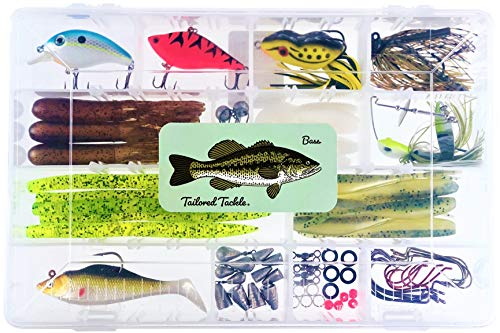 Bass Fishing Kit 77 Pcs. Tackle Lures Hooks Jigs Worms Weights