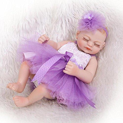 "icradle 10 "" 26 cmパープルドレスMini Rebornベビー人形Full Body Vinylシリコン洗濯可能1.1lbs Realistic Looking Baby Girl新生児人形パープルドレス解剖学的に正しいHappy子おもちゃ   B07BSC63DR"
