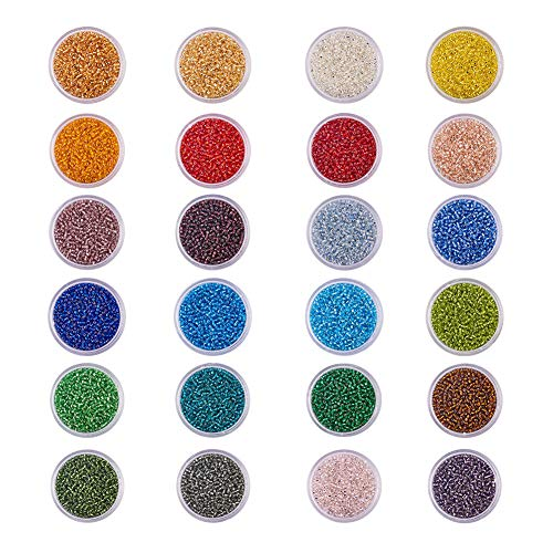 Lined Round Bead - BENECREAT 36000pcs 12/0 MGB Japanese Glass Seed Beads Silver Lined Round Rocailles Seed Beads (24 Boxes 1500pcs/box Approx 36000pcs)