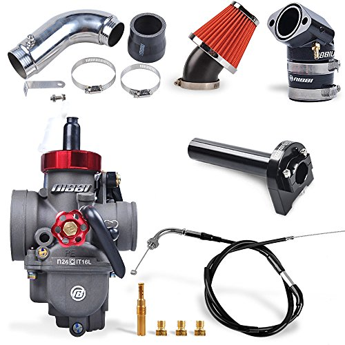 NIBBI RACING PARTS Replacement Orginal High Performance Speed Modified Carburetor Kit PE26MM GY6 Curved Pipe Throttle Line Handlebar 48MM Air Filter Fit GY6 Engine Scooter 100CC-150CC