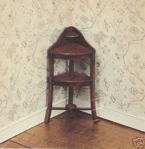 Washstand Wood - Dollhouse Furniture- Hepplewhite Corner Washstand/ Circa 1800 #40056 Assembled (The House of Miniatures)