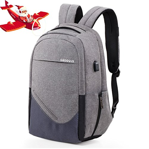 Travel Outdoor Computer Backpack Laptop Bag (Grey) - 6