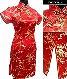 Coac3 Black Traditional Chinese Dress Women's Satin Qipao Mini Cheongsam Flower Size S M L XL XXL XXXL 4XL 5XL 6XL Red 5XL