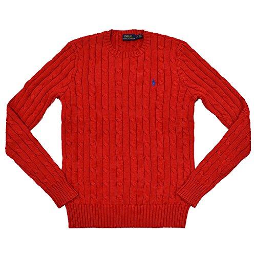 RALPH LAUREN Women's Crewneck Cable Knit Pony Logo Sweater (Medium, Active Red)