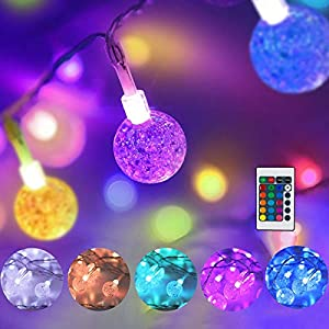 Color Changing Globe String Lights USB Plug, 16.4 ft 50 LEDs Crystal Bubble Ball Fairy Lights with Remote Control Timer…