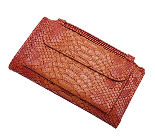 Clutch Purse Chain Wallet Handbag Tote Leather Crossbody Yellow Womens Snakeskin Genuine with TI40U