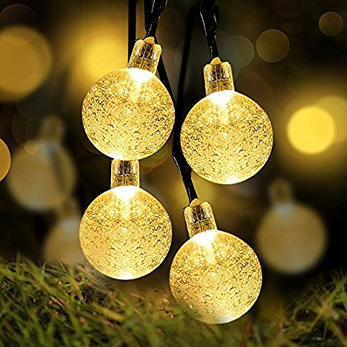 16' Double Ball (Outdoor Solar String Lights, Alotm IP44 Waterproof Night Lights 16ft 20leds Fairy String Lights Bubble Crystal Ball Lights for Holiday Decorations, Indoor, Party, Wedding, Garden, Yard (Warm))