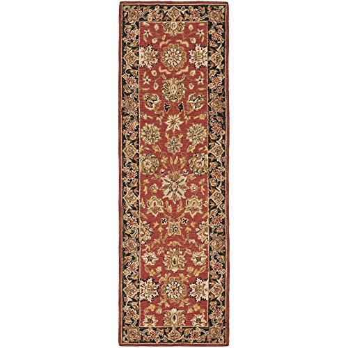 Safavieh Chelsea Collection HK505C Hand-Hooked Rose and Black Premium Wool Runner (2'6