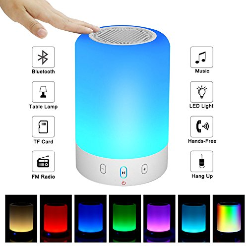 【2018 UPGRADE] Portable Bluetooth Speakers V4.0 Wireless Speakers Stereo Subwoofer Smart Touch Speakers Color Changing … (Small)