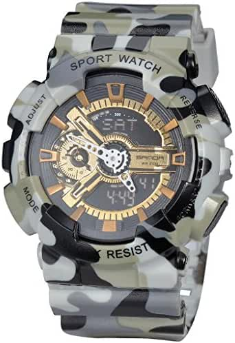 Military Mens Sport Camouflage Quartz Electronic LED Back Light Alarm Watch For Boys Grey