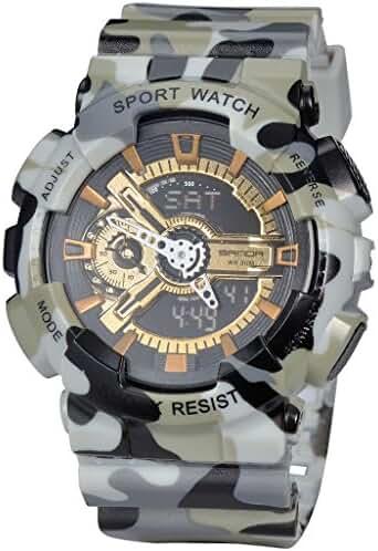 Military Mens Sport Camouflage Quartz Electronic LED Back Light Alarm Watch For Boys Grey