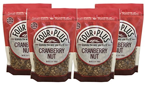 Kelly's Four Plus Cranberry Nut Granola, 12 oz, 4 count Best Crunchy Nut Granola Cereal All Natural Healthy Almond Pecan Walnut Granola Cereal Oats, Honey Maple Syrup Granola for Breakfast, ()