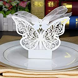 Amytalk 50 Pcs Laser Cut Wedding Favors Candy Boxes Pearl Paper Gifts Box for Marriage Birthday Shower Party Decors (Butterfly)