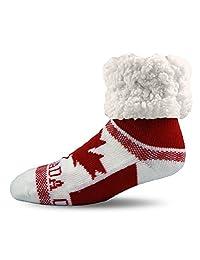 Pudus Unisex Classic Slipper Socks, Adult, Retro Canada White