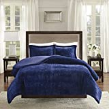 Madison Park Lena King Size Bed Comforter Set - Navy, Textured Medallion – 3 Pieces Bedding Sets – Velvet, Faux Fur Bedroom Comforters