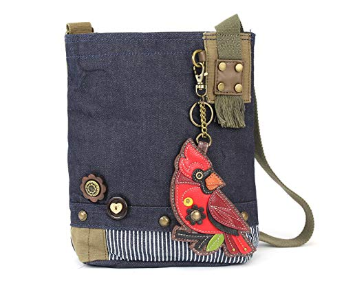 Pug Mini Button - Chala Patch Cross-Body Women Handbag, Canvas Messenger Bag - Cradinal Denim