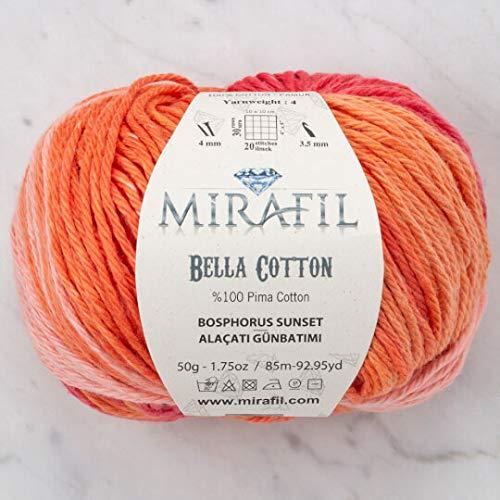- 3 Pack Mirafil Bella Cotton, Variegated Colors, 100% Pima Cotton Yarn 50 g (1.76 oz) / 85 m (92 yd), Yarn Weight: 4 : Worsted-Aran (Bosphorus Sunset)